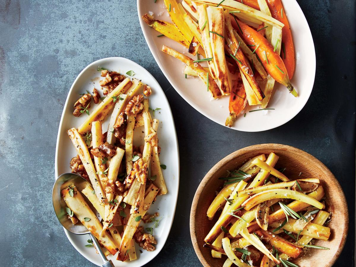 Roasted Parsnips with Sea Salt, Malt Vinegar, and Chives