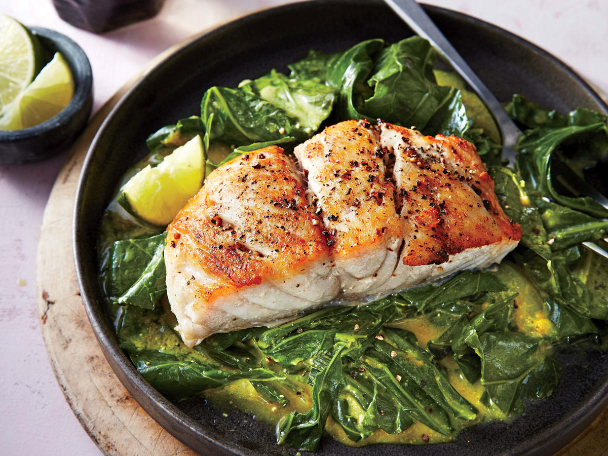 Sautéed Snapper with Curried Greens