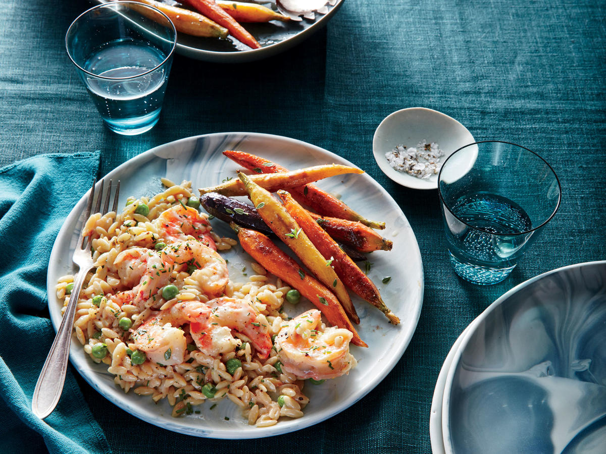Creamy Lemon Orzo with Peas and Shrimp