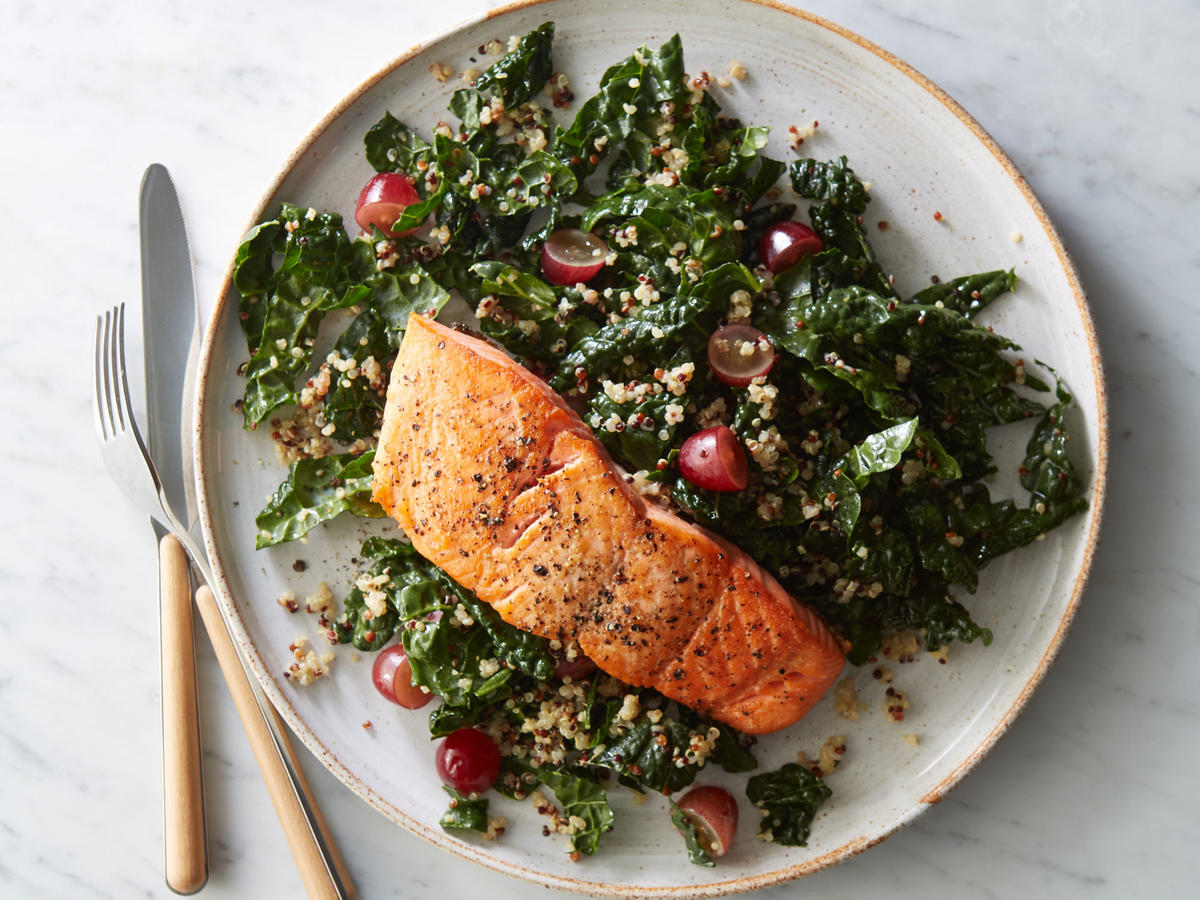 828ddf41c956 Roasted Salmon with Kale-Quinoa Salad Recipe - Cooking Light