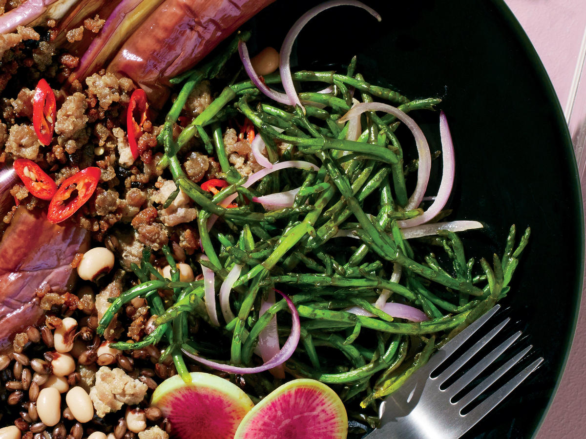 Sauteed Sea Beans and Onions