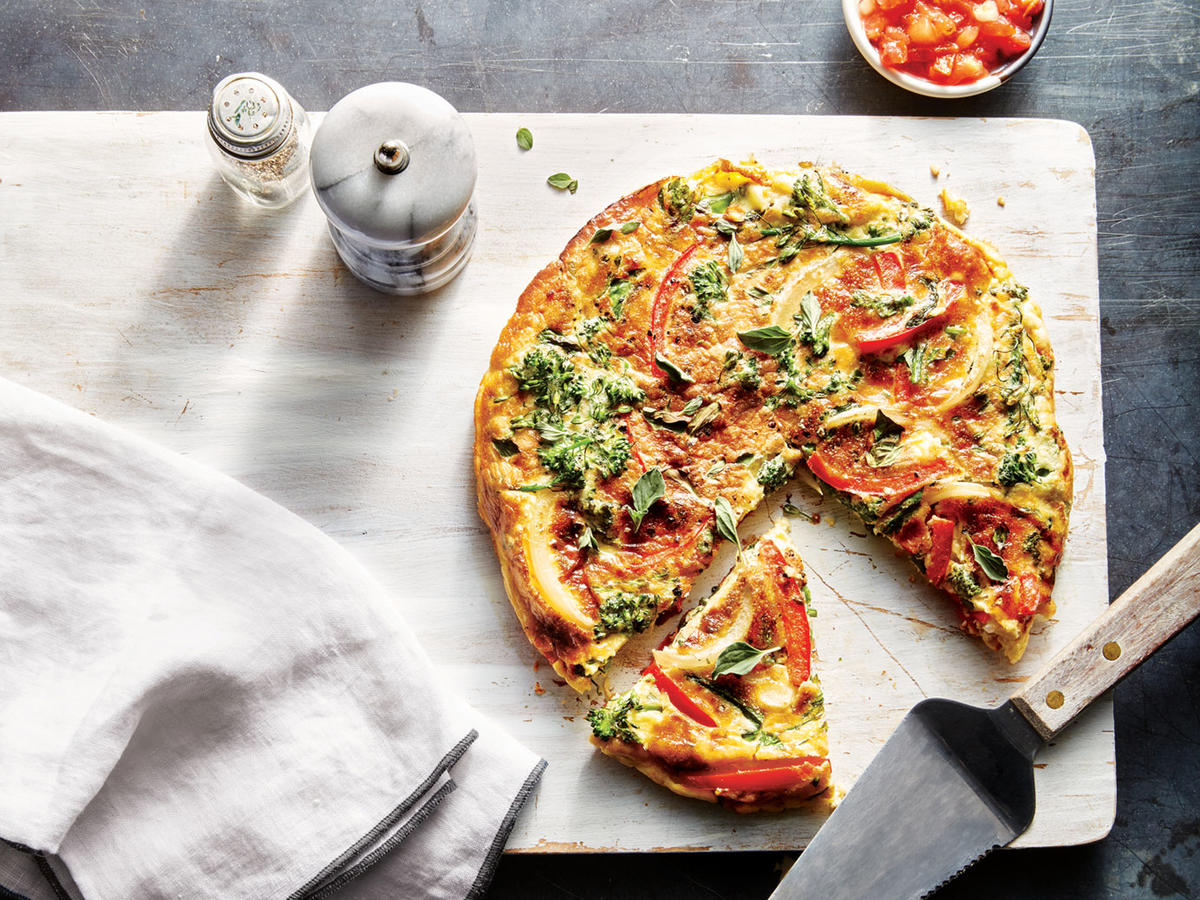 Broccolini, Red Pepper, and Roasted Garlic Frittata