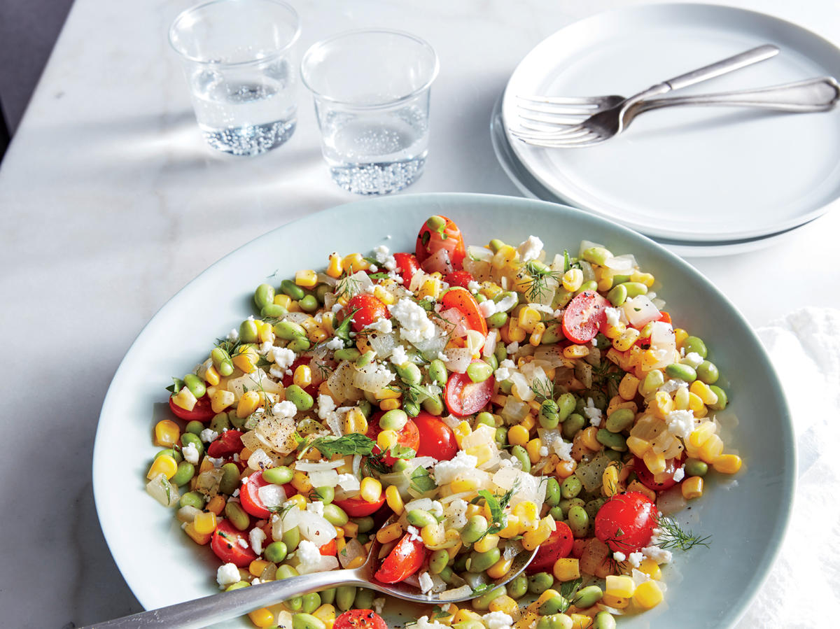 Feta-Herb Edamame Succotash - Cooking Light