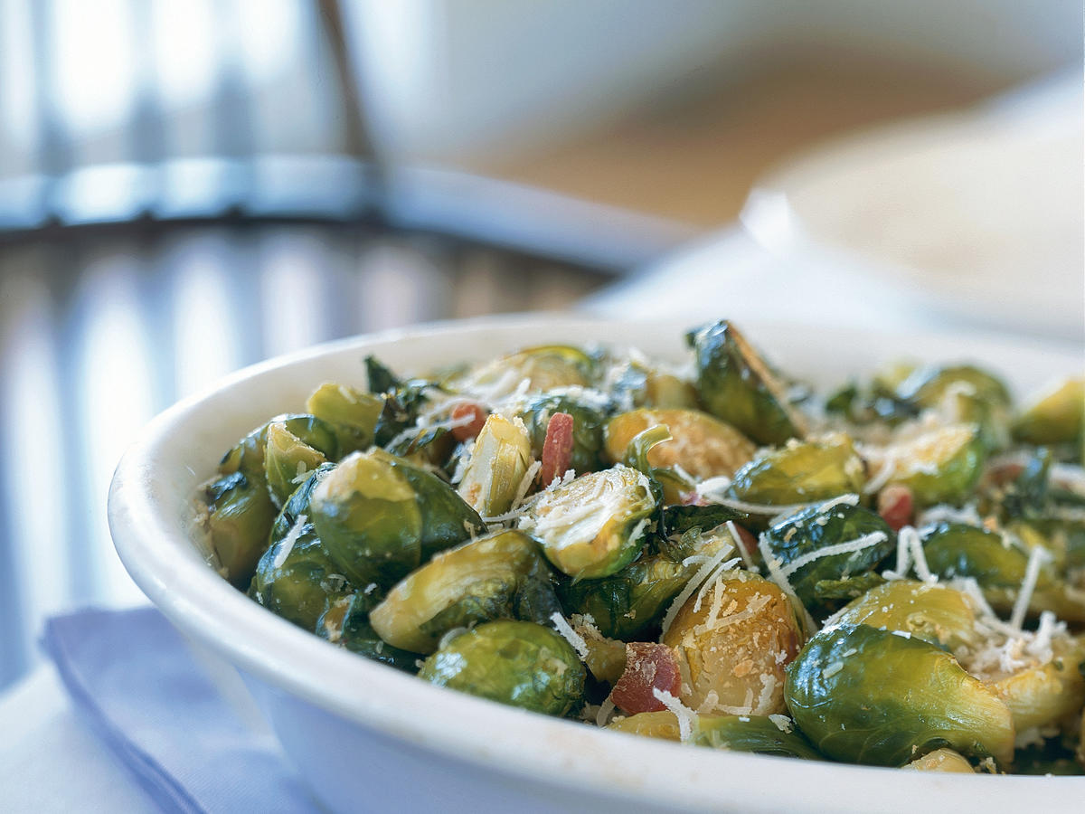 Winter's Best: Roasted Brussels Sprouts with Ham and Garlic