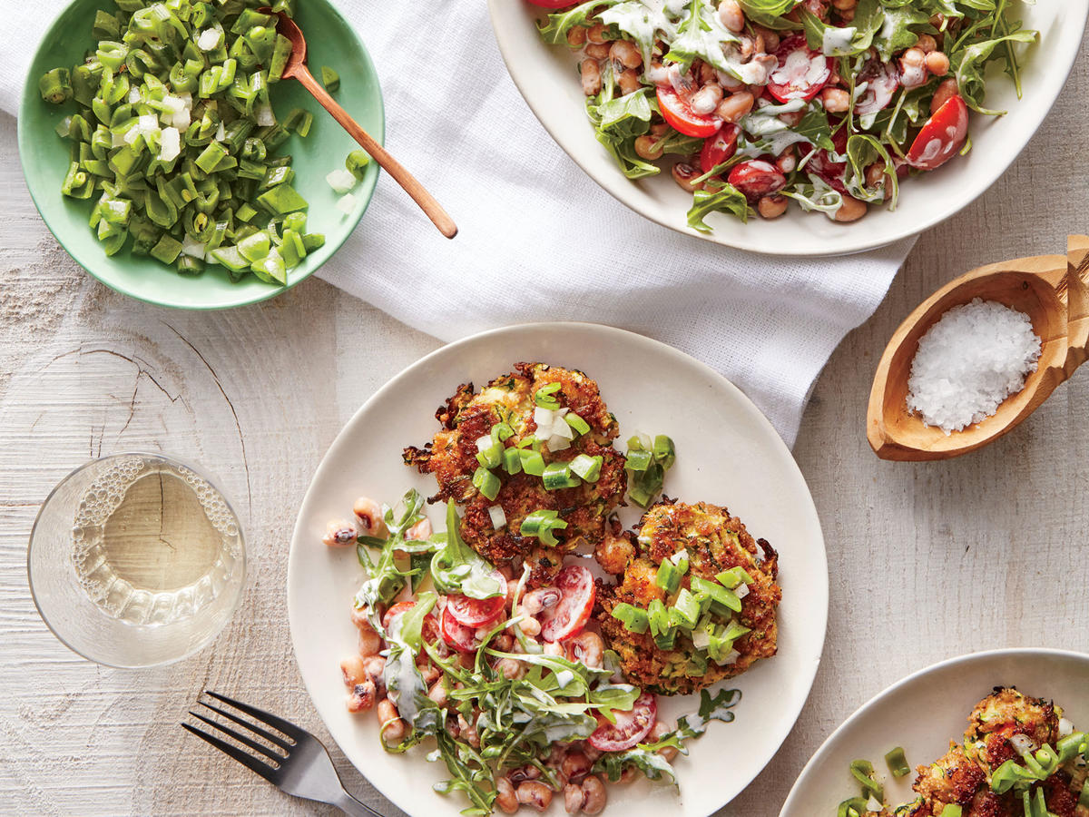 Zucchini and Shrimp Cakes with Snap Pea Relish