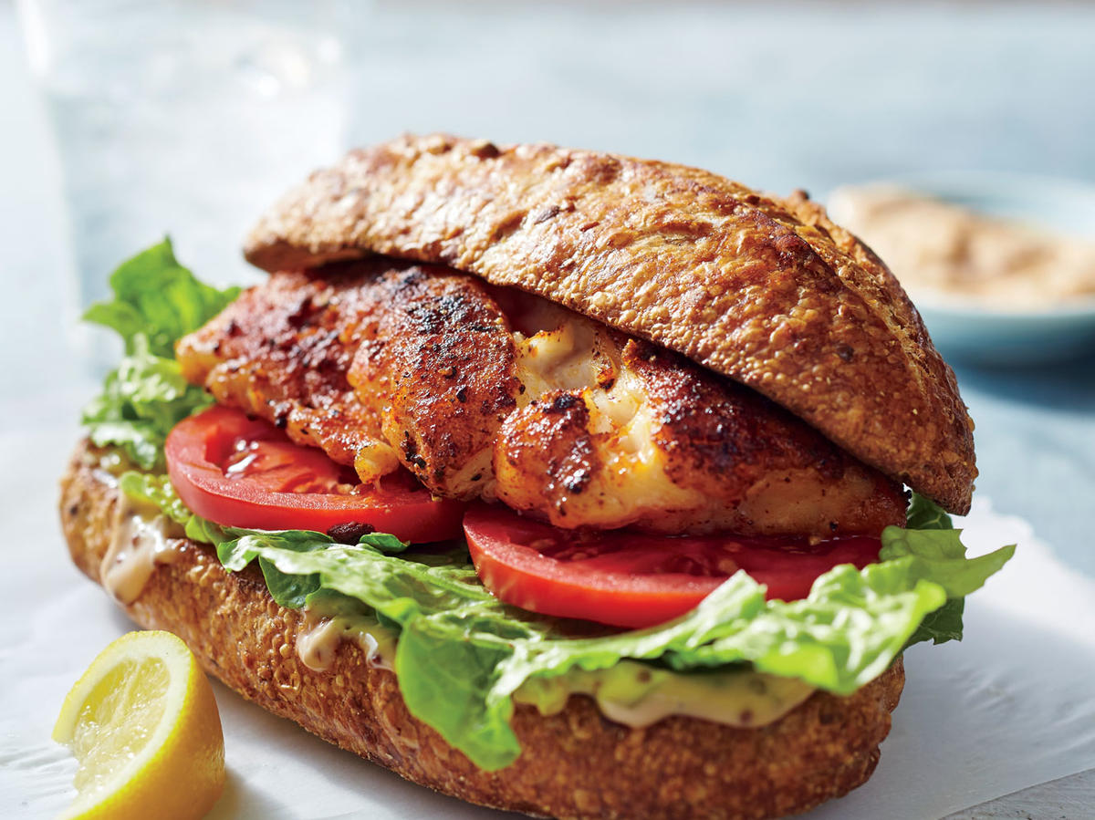 Blackened Grouper Sandwiches with Rémoulade