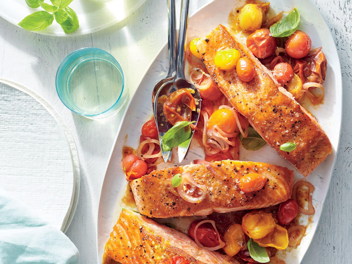 Seared Salmon with Balsamic-Blistered Tomatoes
