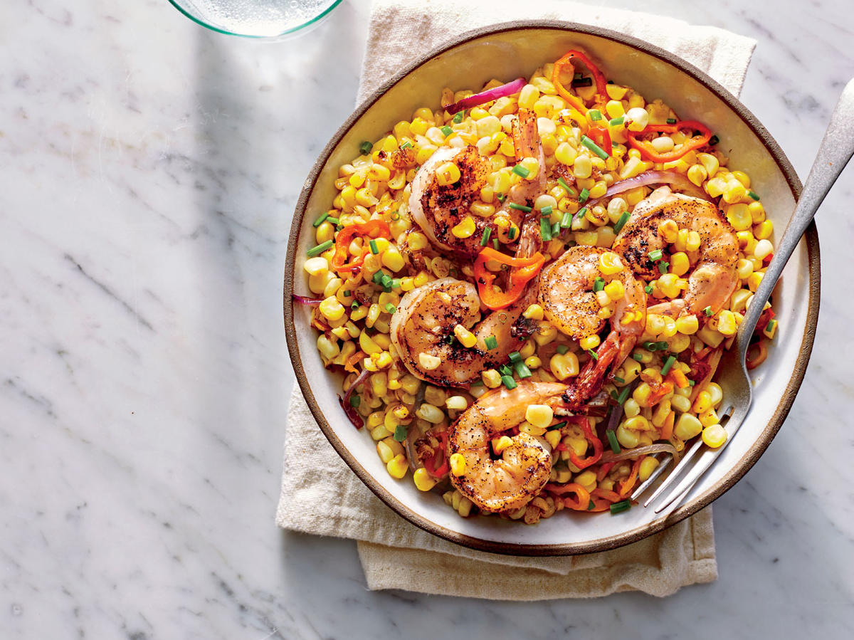 Brined Shrimp With Charred Corn Salad