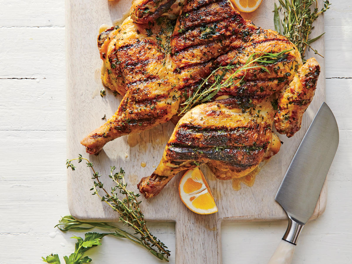 Herb-Rubbed Chicken Under a Brick