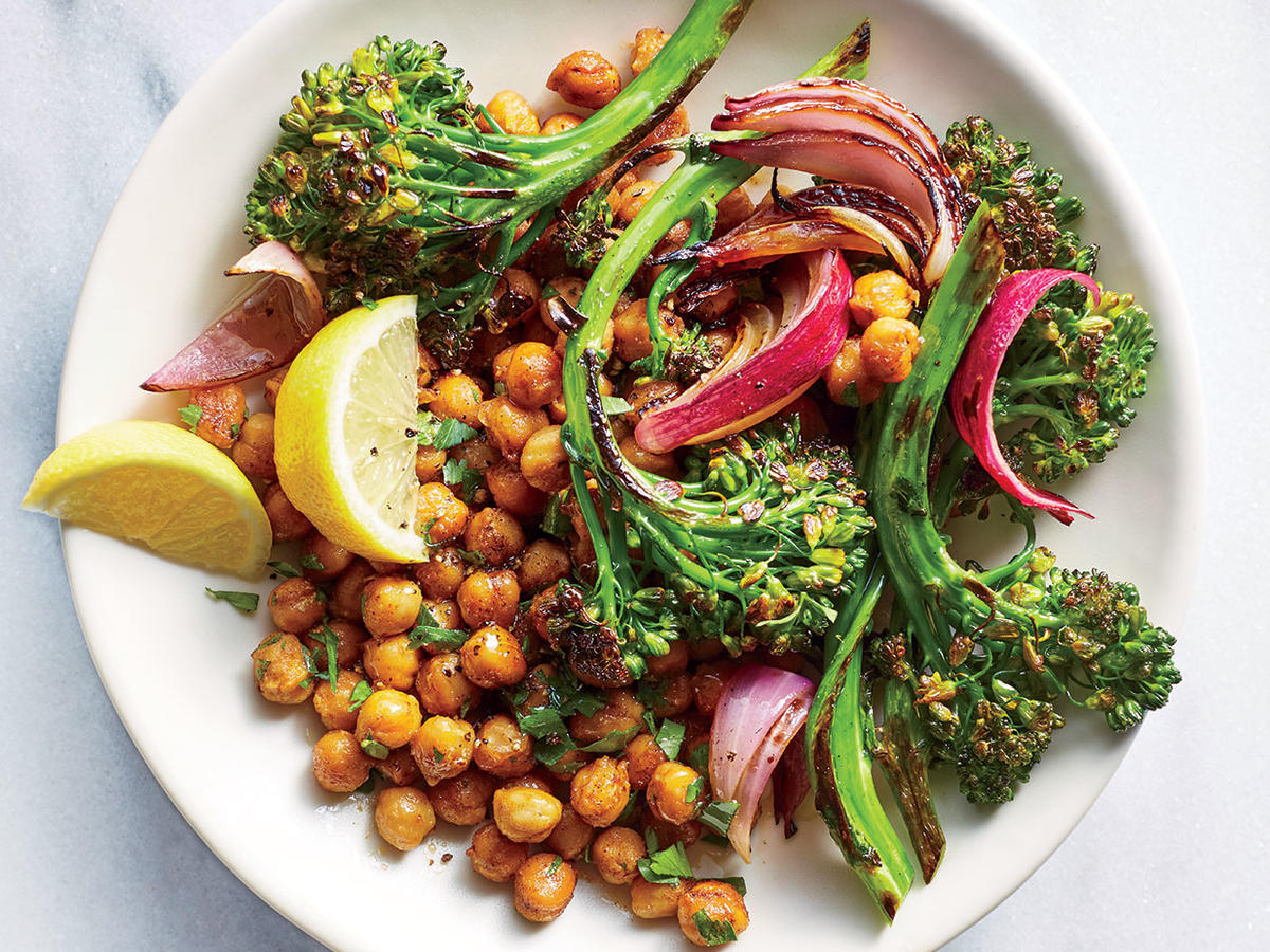 Charred Broccolini and Onion Chickpea Bowls
