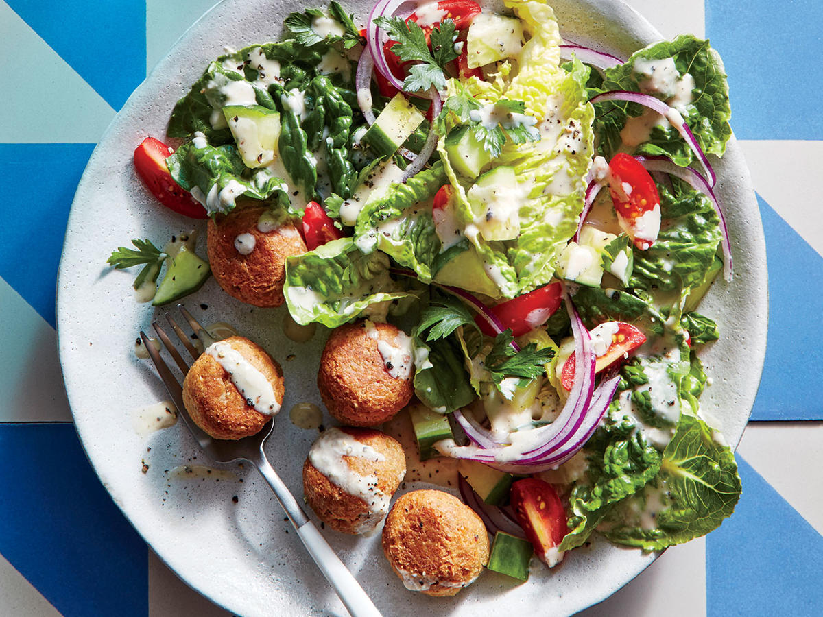 """Chickpea """"Meatballs"""" with Crunchy Romaine Salad"""