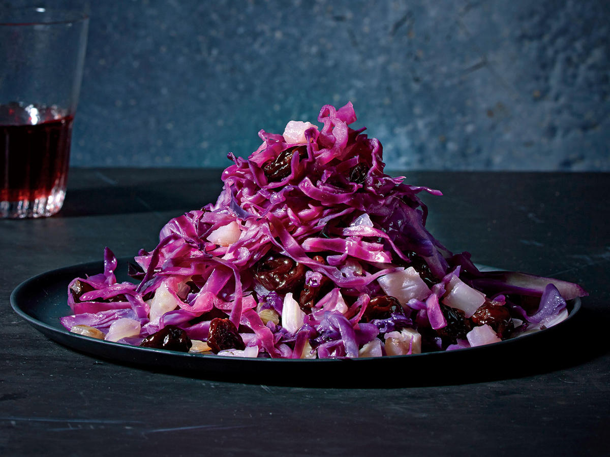 Red Cabbage Agrodolce with Dried Cherries