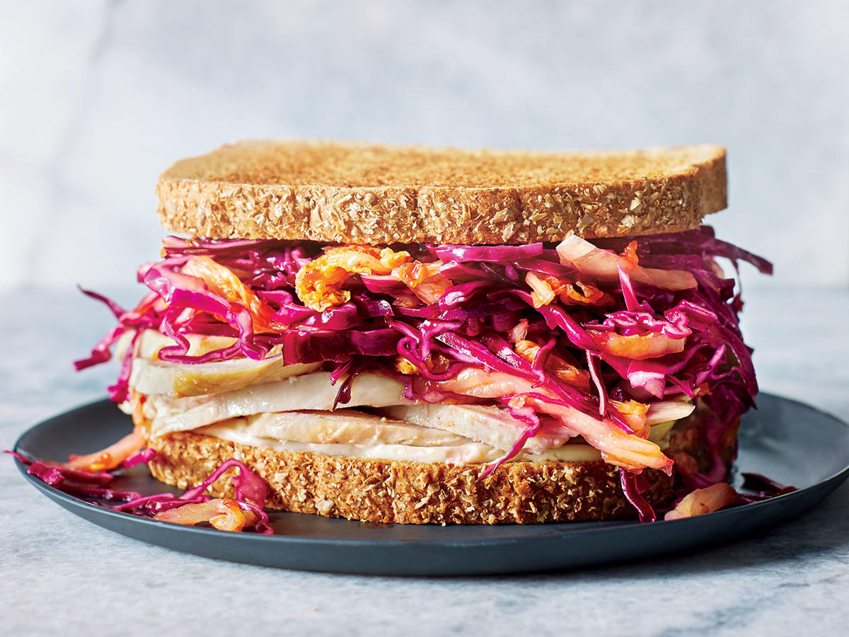 Turkey Sandwiches with Kimchi Slaw and Miso Sauce