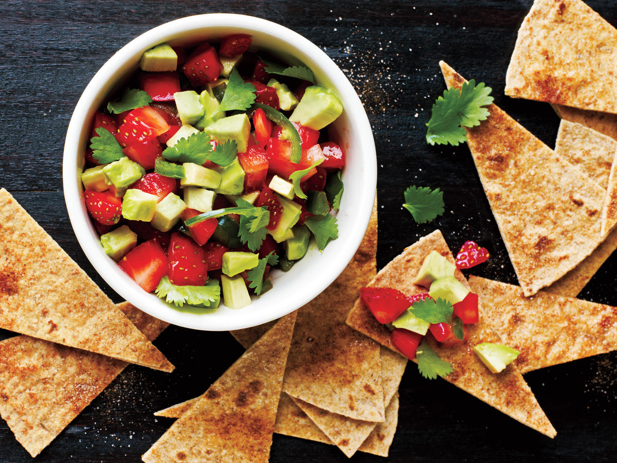 Quick and Healthy Strawberry-Avocado Salsa with Cinnamon Tortilla Chips Recipe