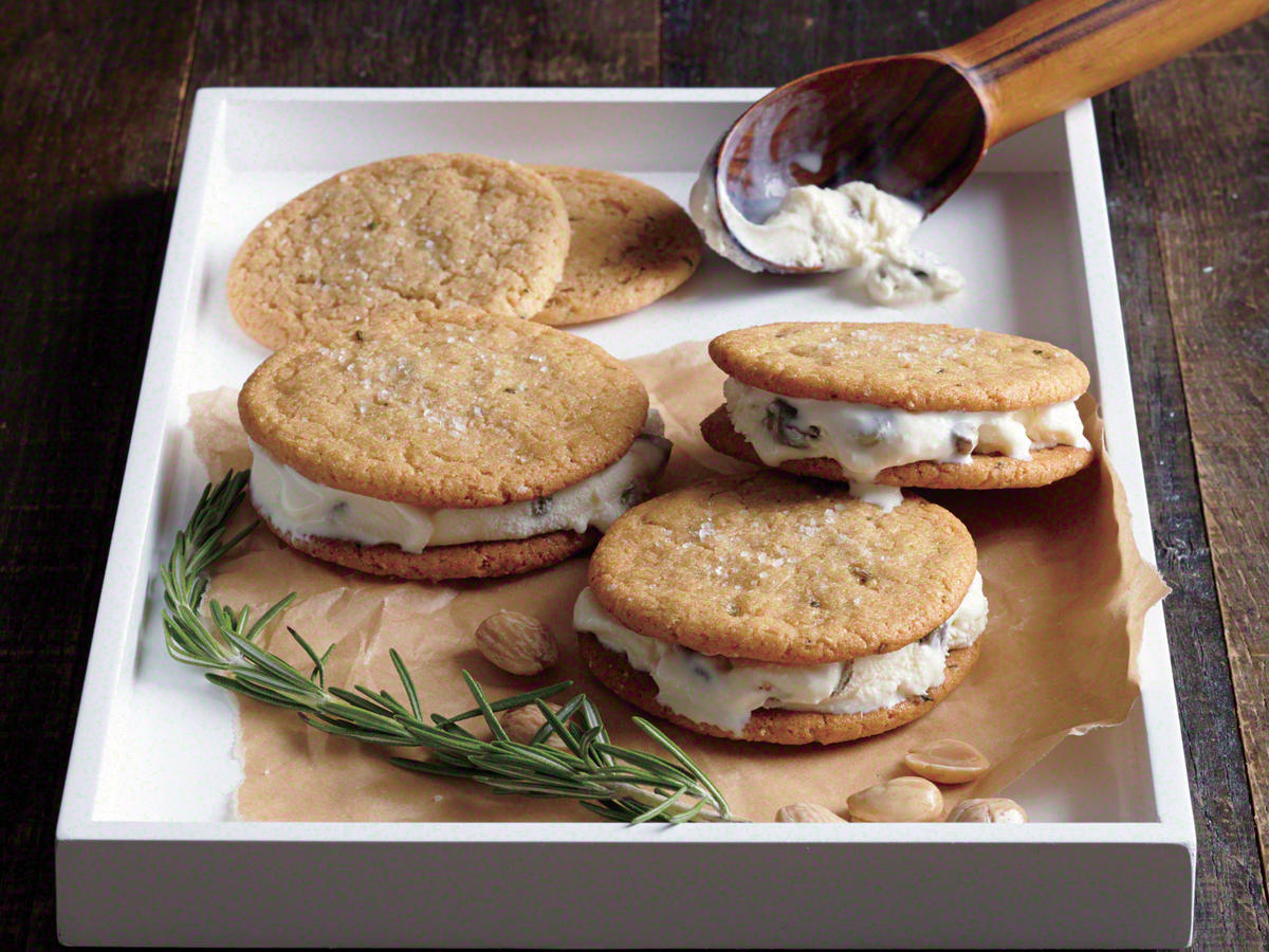 Marcona-Rosemary Ice Cream Sandwiches
