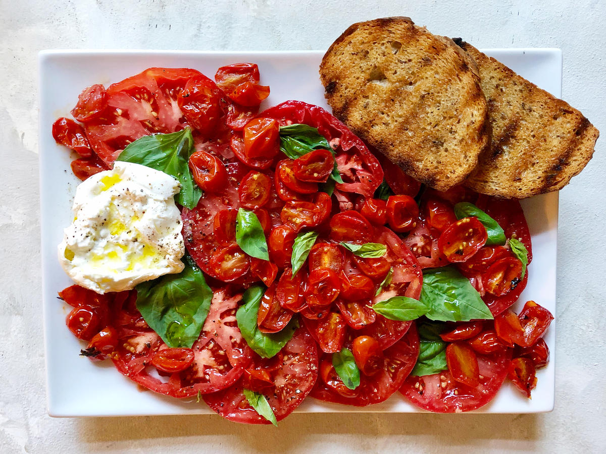 Caprese Salad With Roasted Tomatoes And Burrata