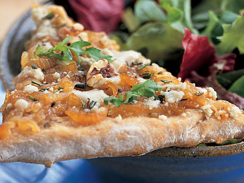 Caramelized Onion Pizza with Gorgonzola and Arugula Recipe