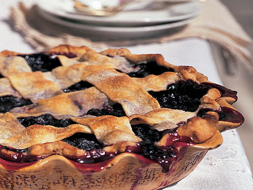 Lattice-Topped Blueberry Pie