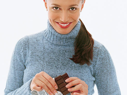Healthy Holiday Foods: Woman with Chocolate