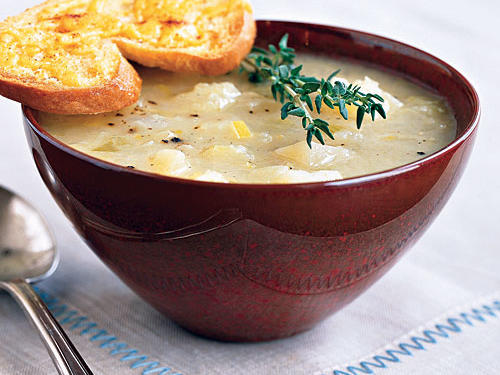 Golden Potato-Leek Soup with Cheddar Toasts Recipes