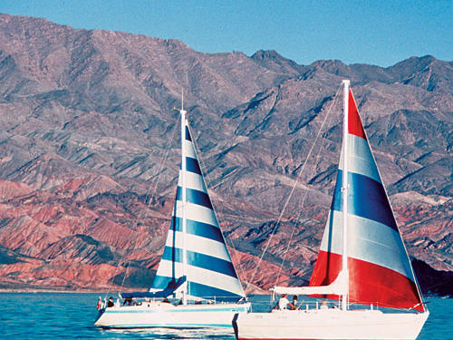 Lake Mead provides a welcome oasis not far from Las Vegas's lights.