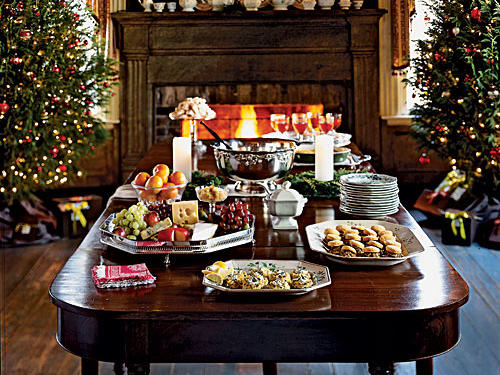 A lavish spread welcomes friends and family to Adkins's eagerly anticipated holiday fete.