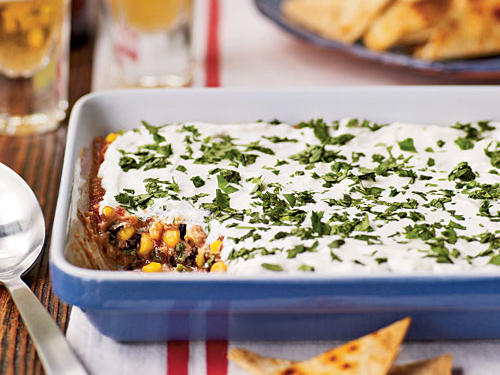 Healthy Party Bean Dip with Baked Tortilla Chips