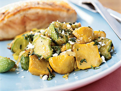 Sauteed Baby Squash with Basil and Feta
