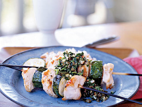 Spiedini of Chicken and Zucchini with Almond Salsa Verde, Cooking Light, June 2008