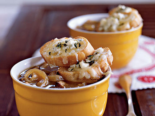 Caramelized Onion and Shiitake Soup with Gruyere–Blue Cheese Toasts, Cooking Light, October 2008