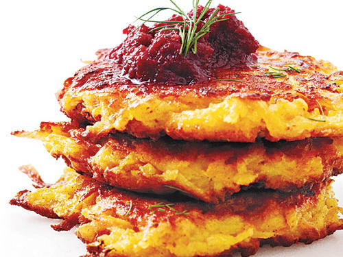 Crispy Root Vegetable Latkes with Beet Puree