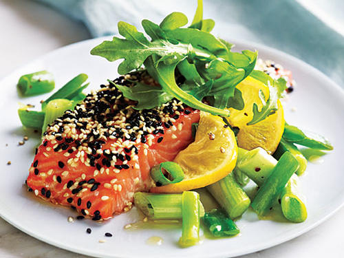 Sesame Salmon with Green Onions and Lemon
