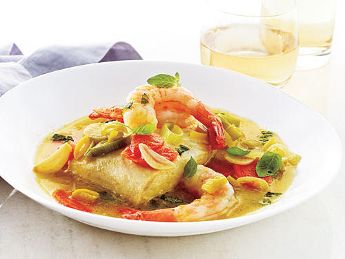 Halibut and Shrimp with Minted Broth