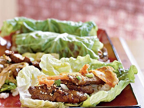Our guide to stir-frying offered up this twist on traditional Korean bulgogi, with sweet-savory beef slices wrapped up in lettuce and fiery kimchi.