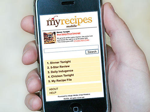 /iPhone with MyRecipes mobile page