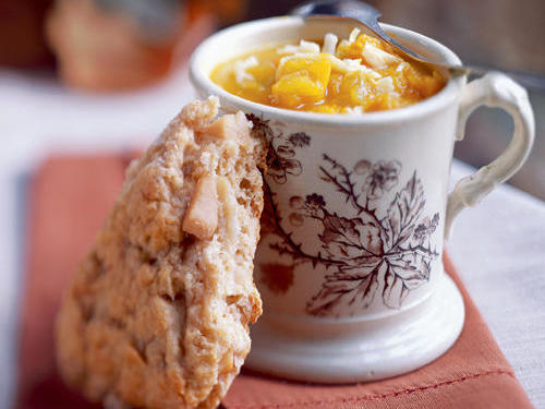 Dried Pear and Cardamom Scones with Curried Butternut Soup