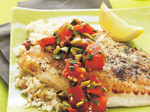 Tilapia with Warm Olive Salsa