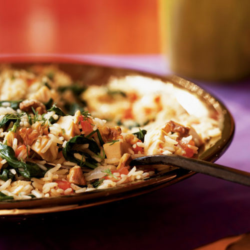 Pilaf with Chicken, Spinach, and Walnuts Recipe