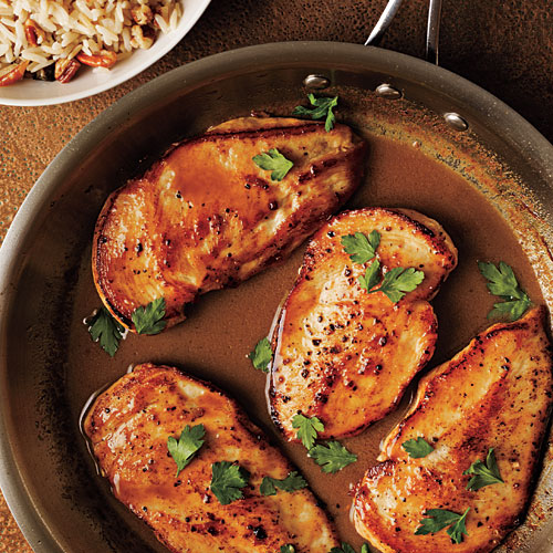 Best Chicken Recipes Cooking Light: Cider-Glazed Chicken With Browned Butter-Pecan Rice