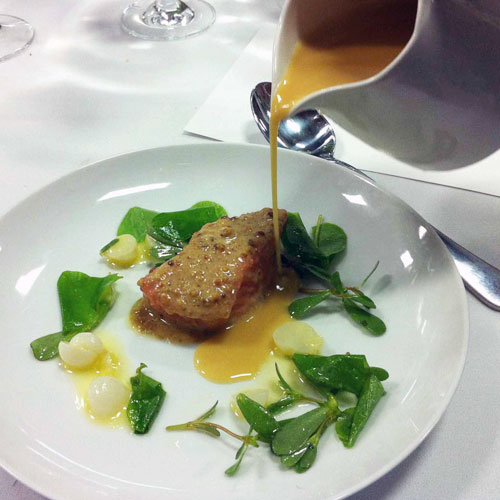"""Course 20: """"Quillayute River King Salmon, Hazelnut and Sorrel"""""""