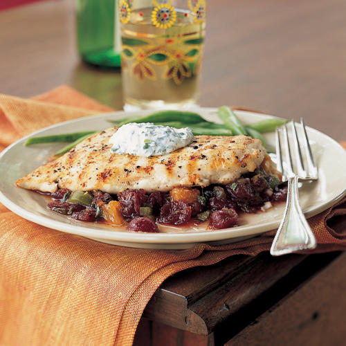 Pan-Grilled Chicken with Cranberry Salsa